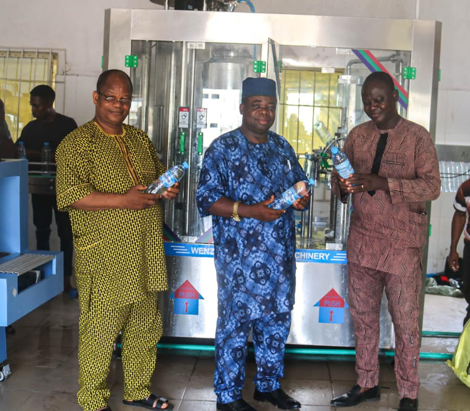 JOY AS ACU TEST RUNS ITS BOTTLED-WATER MAKING MACHINE