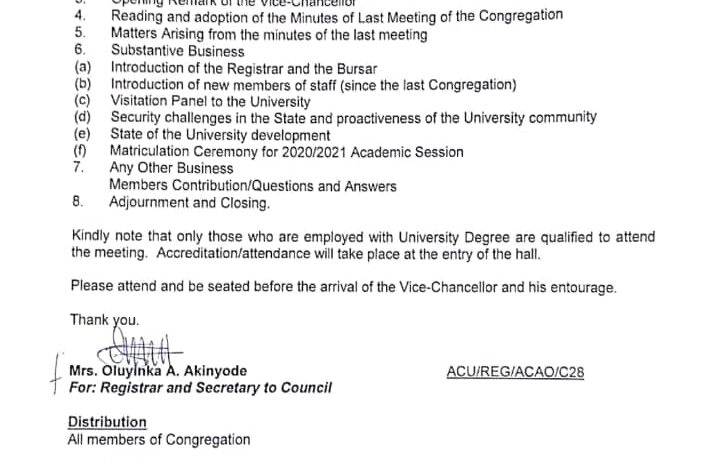 NOTICE OF MEETING OF CONGREGATION